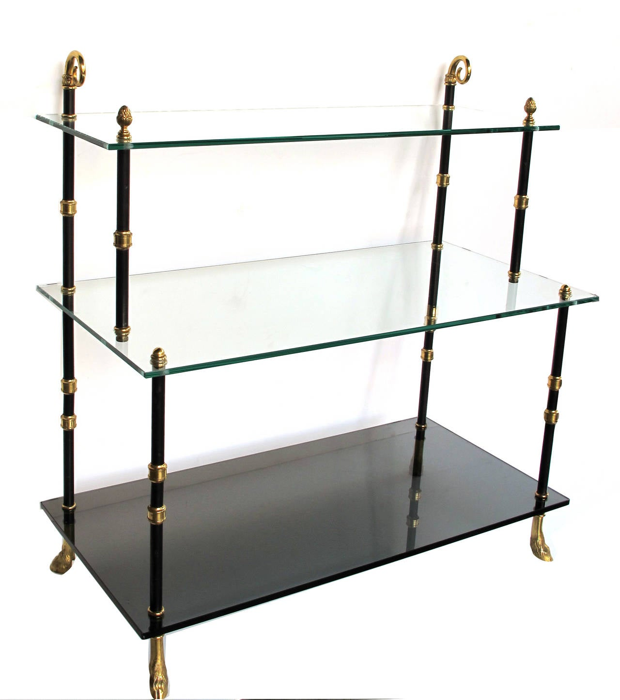 good quality french three tiered etagere with glass shelves by maison jansen for sale at 1stdibs. Black Bedroom Furniture Sets. Home Design Ideas