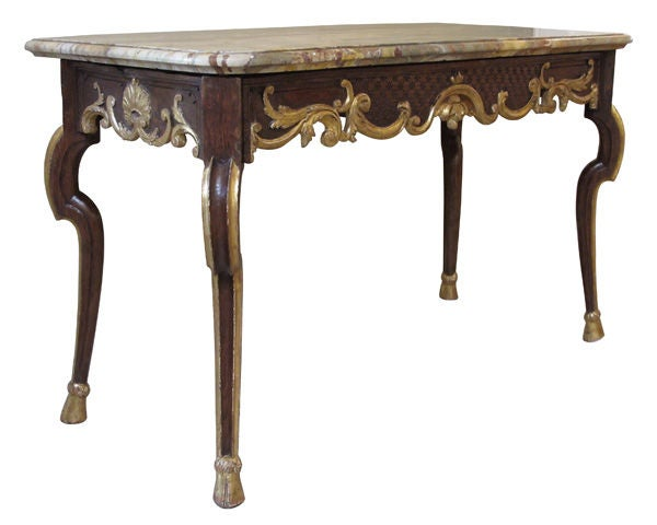 A Handsome French Regence Chestnut And ParcelGilt Console Table - Sarin table