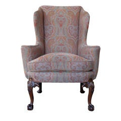 A Handsome Irish George II Style Wing Chair w/Bird-Carved Legs