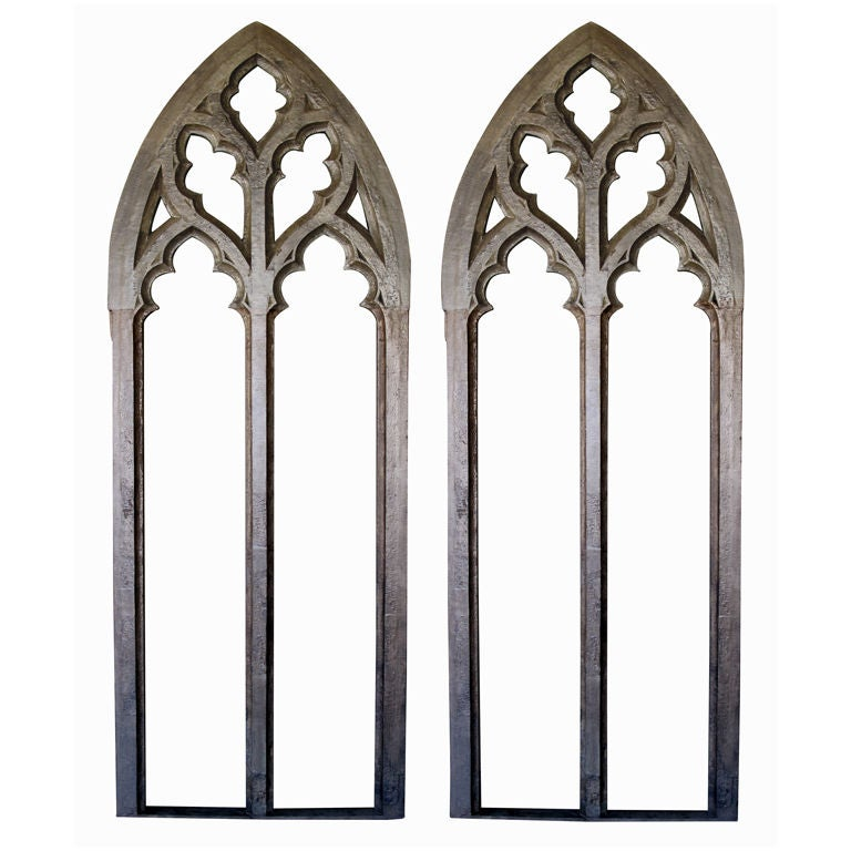 A Grand Scaled Pair Of American Gray Painted Neogothic