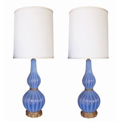 A Boldly-Scaled Pair of Italian Periwinkle-Blue Art Glass Lamps
