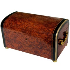 A Richly-Patinated French Napoleon III Burl Walnut Domed Box w/Ebony Inlay