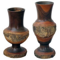 A Skillfully-Crafted Pair of American Folk Art Turned Black Walnut Vases