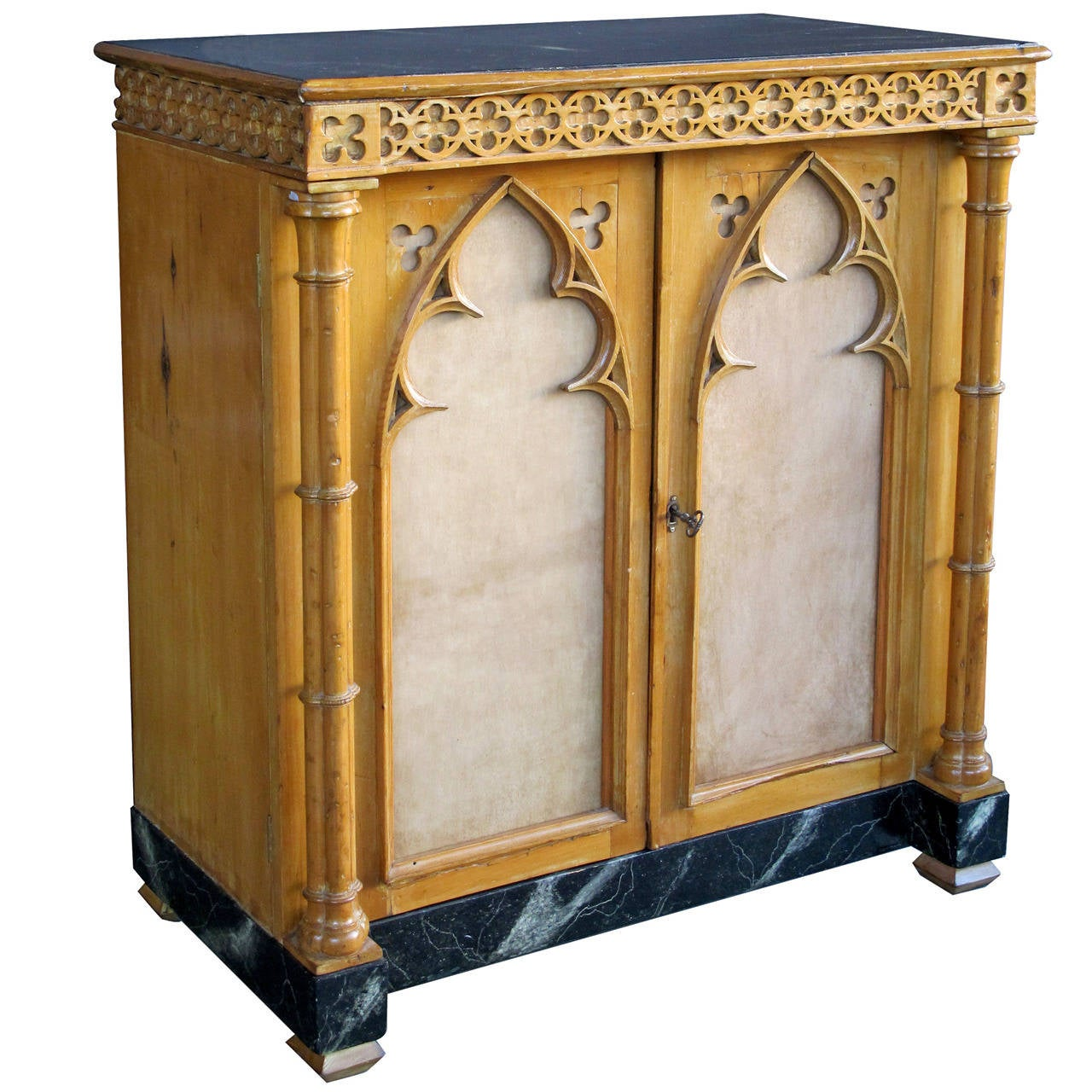 Whimsical English Gothic Revival Two Door Pine Cabinet