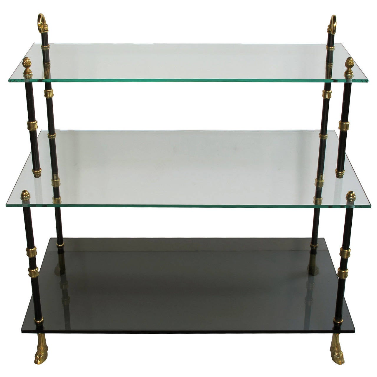 good quality french threetiered etagere with glass shelves by maison jansen 1