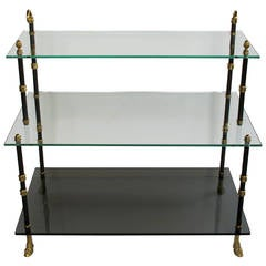 Good Quality French Three-Tiered Etagere with Glass Shelves by Maison Jansen