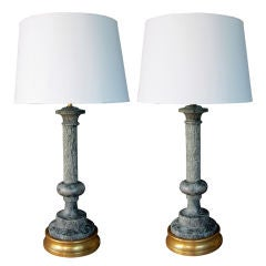A Large-Scaled Pair of Italian Columnar-Form Green Marble Lamps