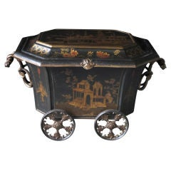 A Rare and Unusual English Ebonized Painted Metal Coal Bin with Chinoiserie Decoration