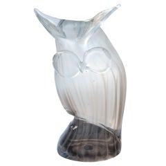 A Charming American Hand-Blown 1960's Glass Great Horned Owl