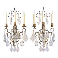 Large-Scaled Pair of French Gilt-Metal & Crystal 3-Light Sconces