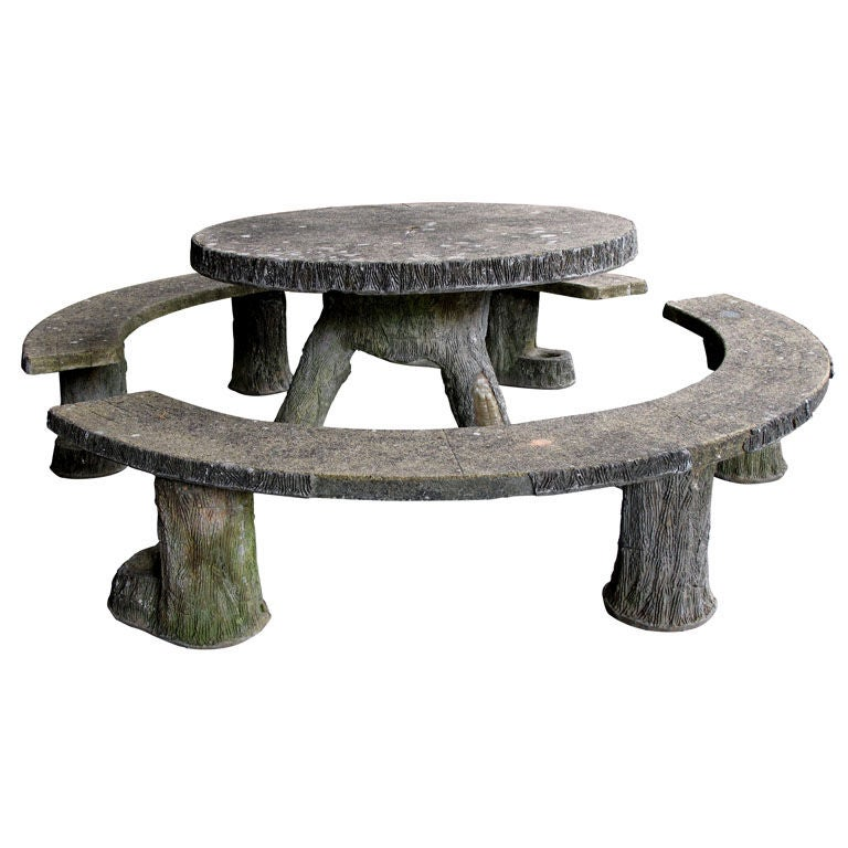 A Rare French Faux Bois Concrete Circular Table W Two Benches At 1stdibs