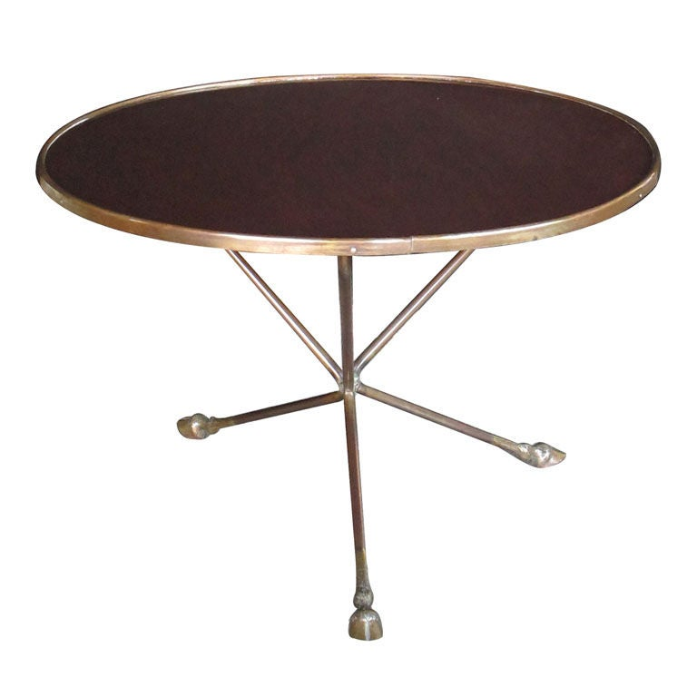 A Richly-Patinated French Brass & Bronze Circular Low Table