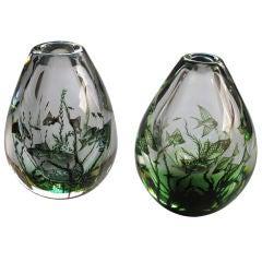 A Rare Pair of Swedish Orrofors 'Fish Graal' Vases; Engraved