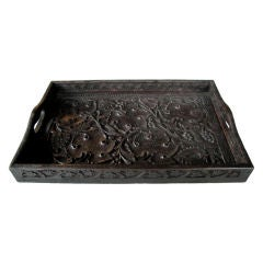 Well-Carved German Black Forest Rectangular Wooden Tray