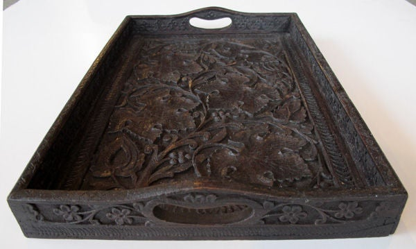 Well Carved German Black Forest Rectangular Wooden Tray