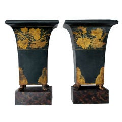 Pair of French Empire Style Dark Green Painted Tole Urns with Gilt Decoration