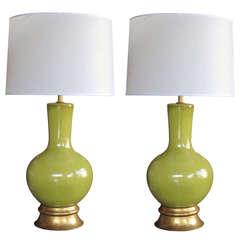 A Stylish Pair of American Mid-Century Apple-Green Glazed Pottery Lamps Designed Paul Laszlo