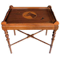 A Charming and Well-Executed American 1940's Folk Art Mahogany Inlaid Rectangular Tray on Stand