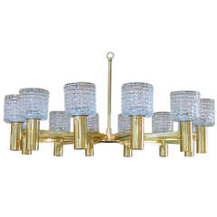 Large-Scale Italian Chandelier with Cut Crystal Shades by Arredoluce Monza