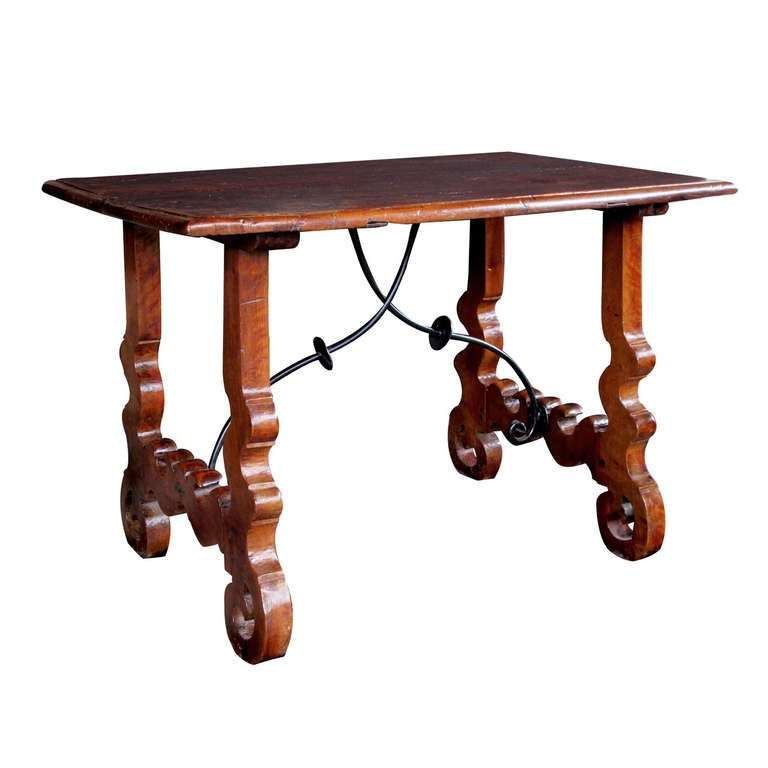A Rustic Spanish Baroque Style Walnut Trestle Table With Iron Stretcher 1