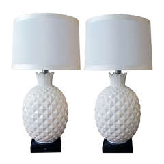 A Robust and Large-Scaled Pair of Italian 1960's White Ceramic Pineapple-Form Lamps