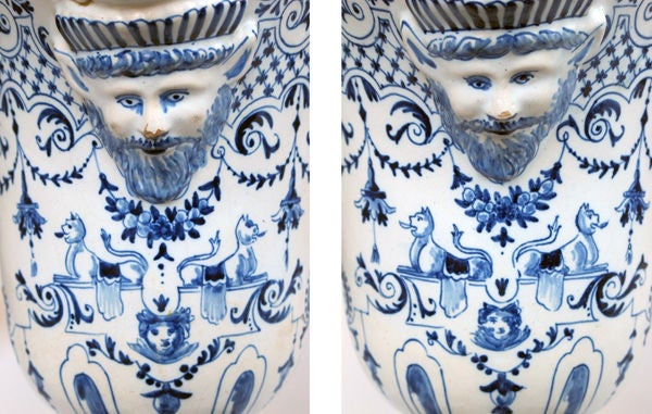 A Good Pair of French Blue&White Tin-Glazed Faience Pitchers image 2