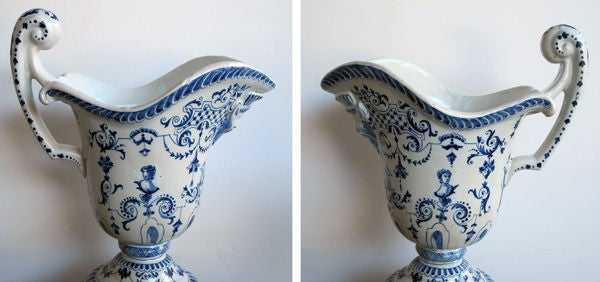 A Good Pair of French Blue&White Tin-Glazed Faience Pitchers image 3