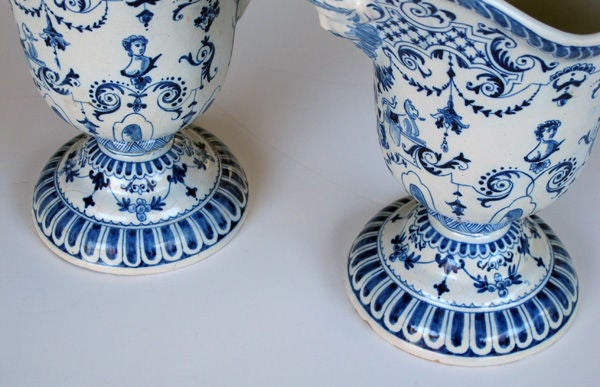 A Good Pair of French Blue&White Tin-Glazed Faience Pitchers image 5