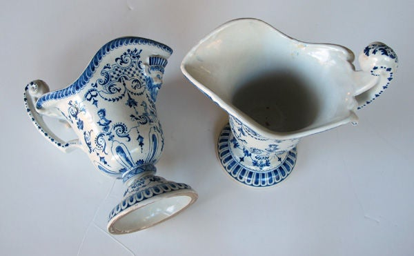 A Good Pair of French Blue&White Tin-Glazed Faience Pitchers image 6