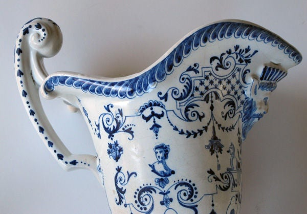 A Good Pair of French Blue&White Tin-Glazed Faience Pitchers image 7
