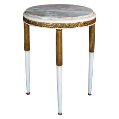 French Art Deco Gessoed and Parcel-Gilt Circular Table Marble Top