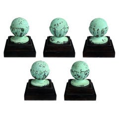 Set of Five American Classical-Revival Verdigris Bronze Finials