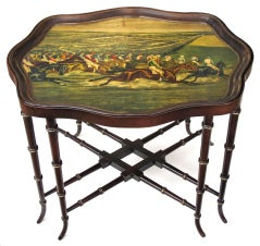 Large-Scaled English Victorian Wooden Tray-on-Stand w/Horse Racing Scene