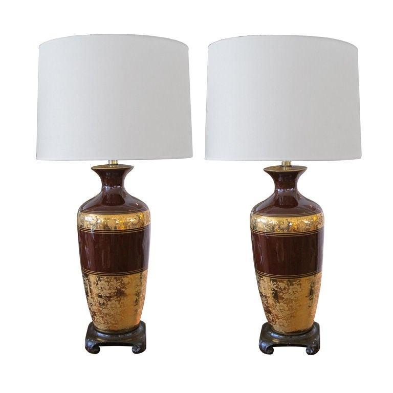 Pair of American Chocolate-Brown Ceramic Lamps with Gilt Decoration For Sale
