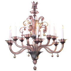 Large-Scaled Graceful Murano Amethyst Glass Two-Tier Twelve-Light Chandelier