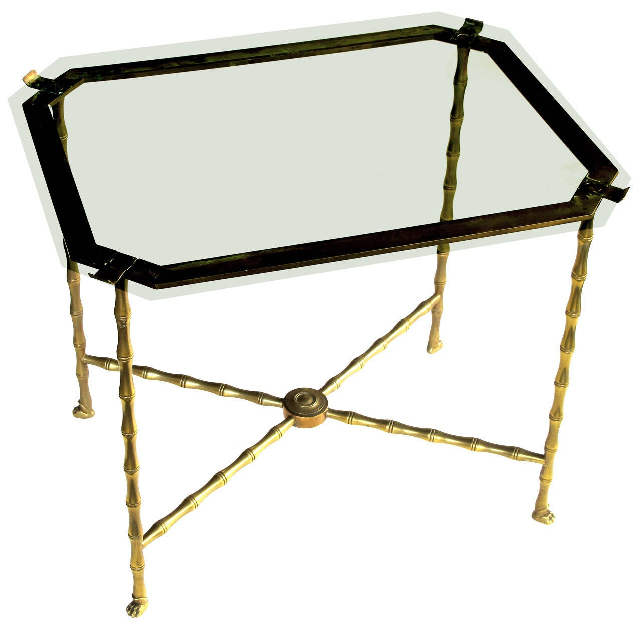 Stylish french 1940s faux bamboo brass side table by for Bamboo side table