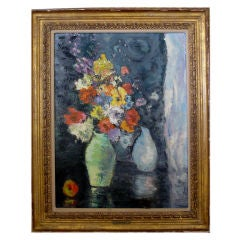 Impressionist Still Life of Flowers with Fruit, Probably American
