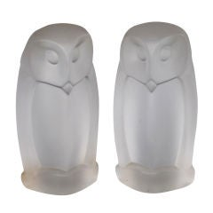A Stoic and Translucent Pair of French 1960's Frosted Glass Owls