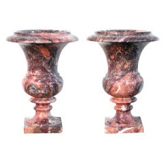 Elegant Pair of French Campagna Urns of Opera-Fantastico Marble