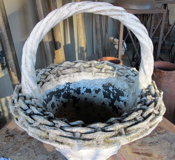 A Boldly-Scaled French Faux Basket-Weave Concrete Jardiniere For Sale 1