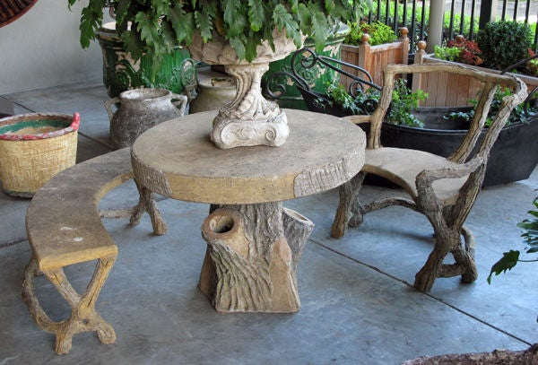 Three Piece French Faux Bois Concrete Garden Set With