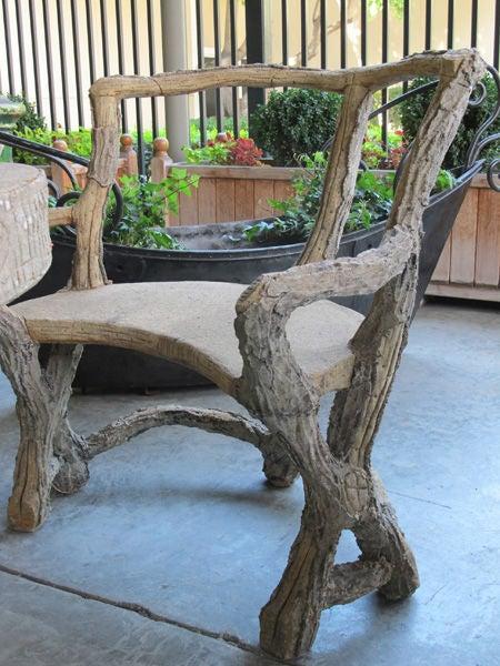 Three Piece French Faux Bois Concrete Garden Set With