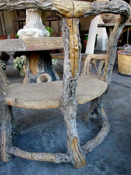 Faux Bois Cement : Three piece french faux bois concrete garden set with