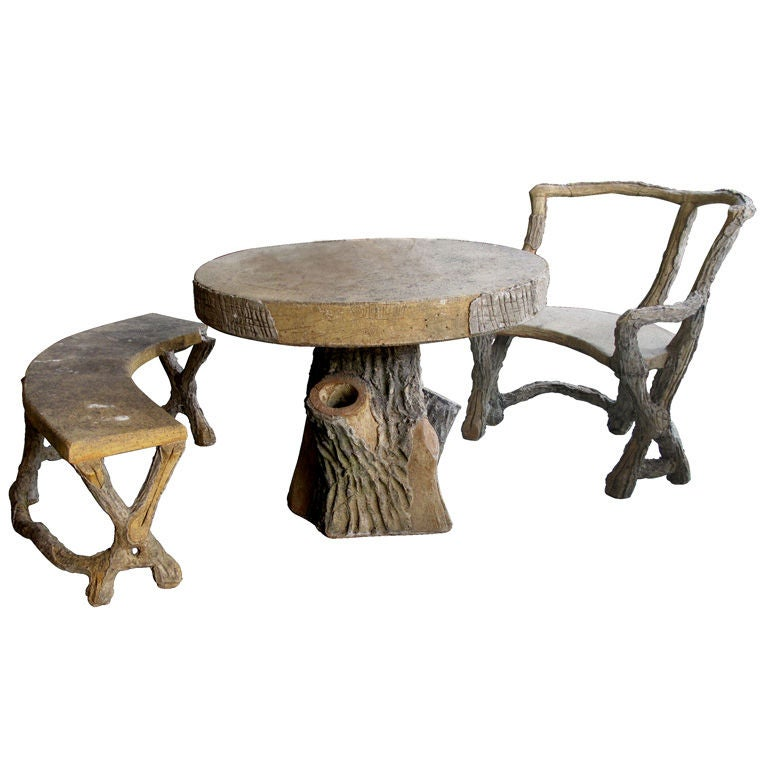 Marvelous Three Piece French Faux Bois Concrete Garden Set With Table, Bench And Seat  For