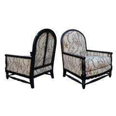 A Handsome Pair of French Art Deco Brown Lacquered Upholstered Club Chairs; by Courtois