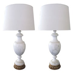 A Pair of Italian Urn-Form Carrera Marble Lamps; for Marbro Lamp Co.