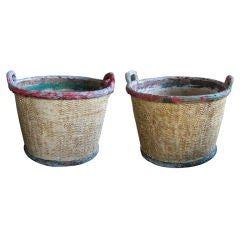 Pair of French Faux Basketweave Cylindrical Concrete Jardinieres