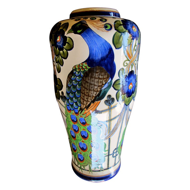 Extrêmement A Richly Decorated Danish Art Nouveau Faience Vase w/Peacocks at  ZA16