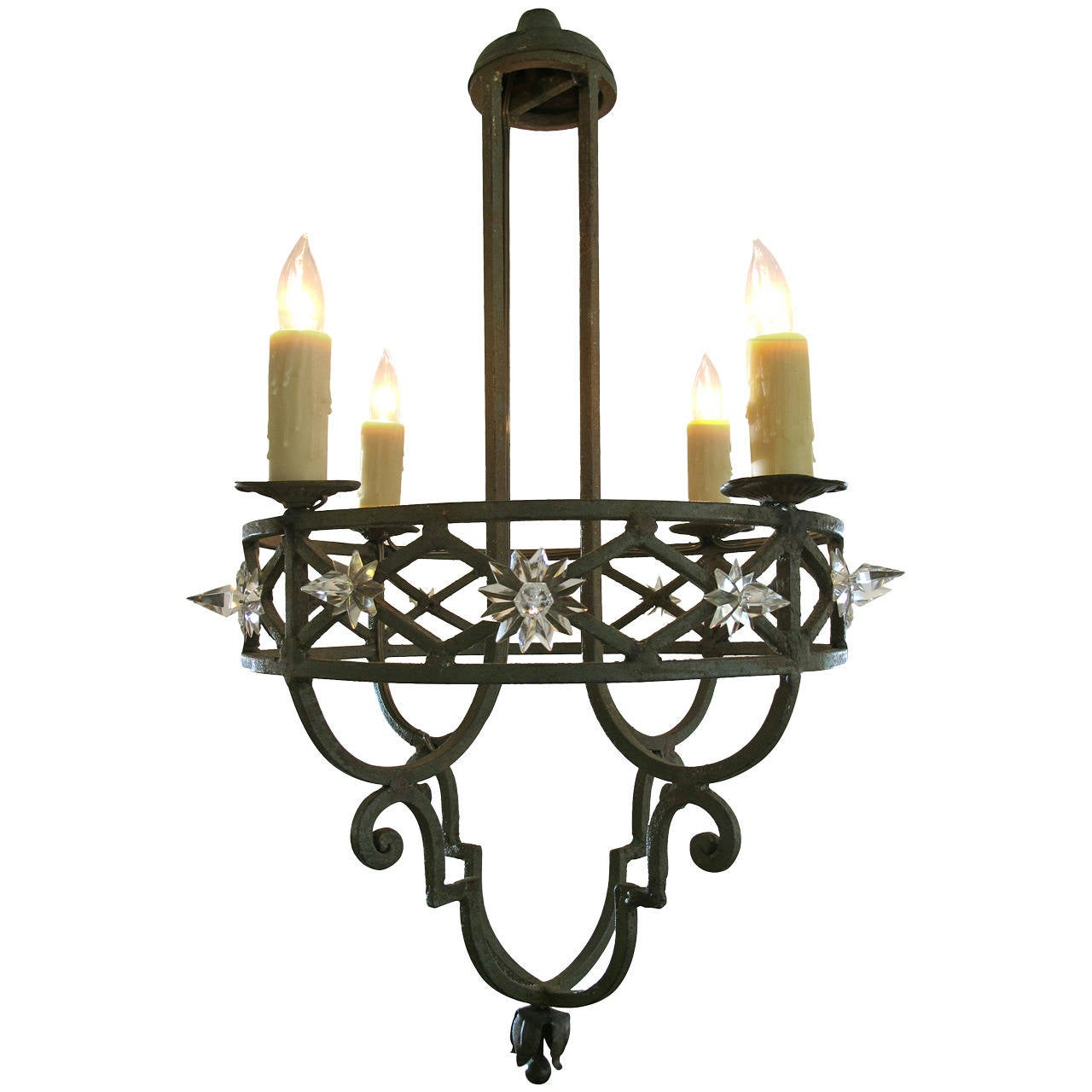 Well-Crafted Spanish Dark Green Painted Hand-Wrought iron ...