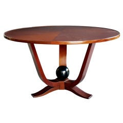 A Large-Scaled French Art Deco Mahogany Circular  Cocktail Table